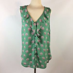 Maeve Anthropologie green floral button ruffle top